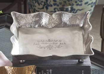 Antique Silver Rectangle Footed Tray, Set of 4