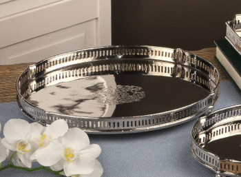 Nickel Chippendale Tray, Set of 2