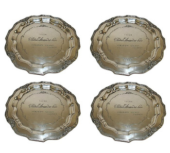 Antique Silver French Charger Tray, Set of 4