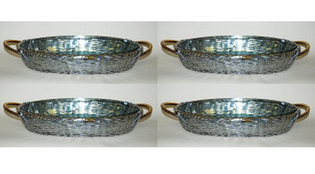Aluminum Oval Pyrex Baker Tray with Brass Accents, Set of 4