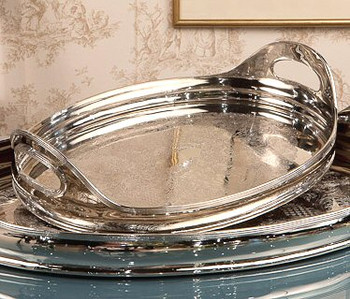 "16.5"" Etched Nickel Oval Tray"