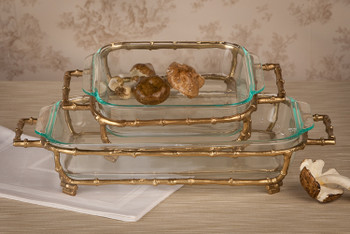 Gold Bamboo Rectangle Pyrex Holder, Set of 2