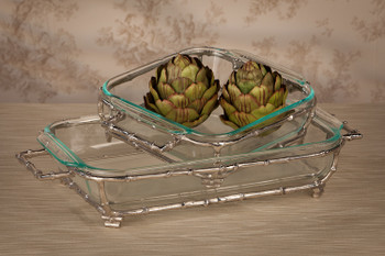 Nickel Bamboo Rectangle Pyrex Holder, Set of 2