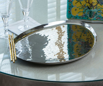 Nickel and Gold Oblong Bamboo Iron Gallery Tray, Set of 2