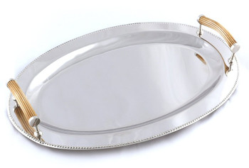 Bone Handle Oval Beaded Gallery Trays, Set of 2