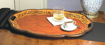 Birch Finish Oval Wood Tray