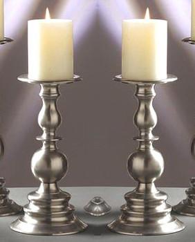 "10"" Pewter Pillar Candle Holder, Set of 2"