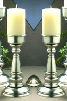 "10"" Antique Silver Pillar Candle Holder, Set of 2"
