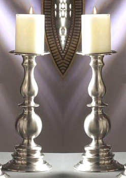 "12"" Pewter Pillar Candle Holder, Set of 2"
