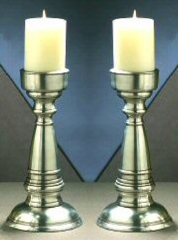 "12.25"" Antique Silver Pillar Candle Holders, Set of 2"