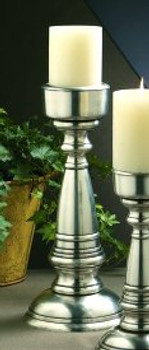 "14"" Antique Silver Brass Pillar Candle Holder"