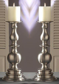 "14"" Pewter Pillar Candle Holder, Set of 2"