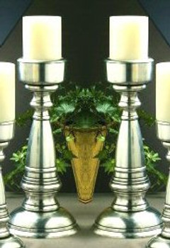 "14"" Antique Silver Pillar Candle Holders, Set of 2"