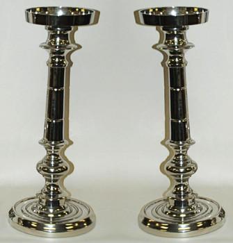 "18"" Nickel Finish Pillar Candle Holder, Set of 2"
