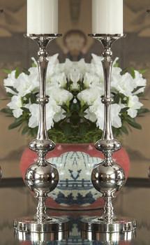 Medium Nickel Pillar Ball Candle Holder, Set of 2
