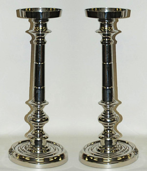 "20"" Nickel Finish Pillar Candle Holder, Set of 2"