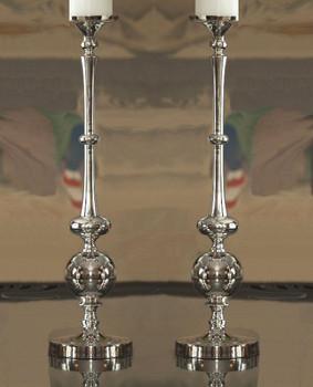 Large Nickel Pillar Ball Candle Holder, Set of 2