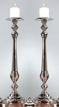 "25"" Nickel Pillar Candle Holder, Set of 2"