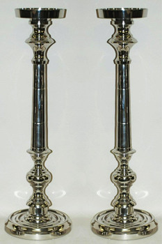 "25"" Nickel Finish Pillar Candle Holder, Set of 2"