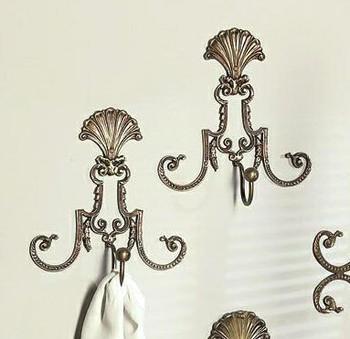Antique Brass Fan Filigree Wall Hooks, Set of 4