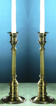 "12"" Antique Brass Leaf Candle Holder, Set of 2"
