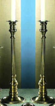 "14"" Antique Brass Leaf Candle Holder, Set of 2"