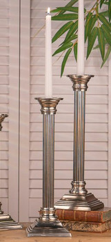 "16"" Pewter Square Base Column Brass Taper Candle Holder, Set of 2"