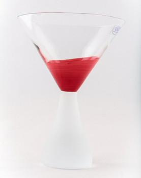 Crimson Romanian Crystal Martini Glasses, Set of 4