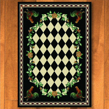 5' x 8' High Country Rooster Black Rectangle Rug