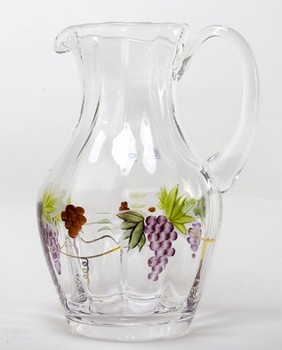 Large Bacchus Romanian Crystal Pitcher