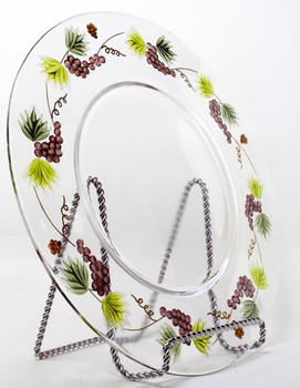 """12.5"""" Bacchus Romanian Crystal Serving Plate"""