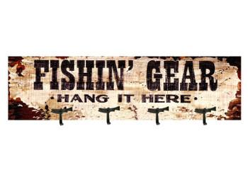 Fishin Gear Coat Rack Vintage Style Wooden Sign