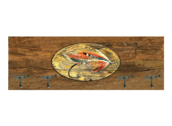 Coat Rack with Fly Fishing Vintage Style Wooden Sign