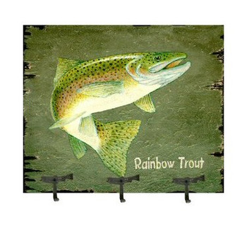 Coat Rack with Rainbow Trout Vintage Style Wooden Sign