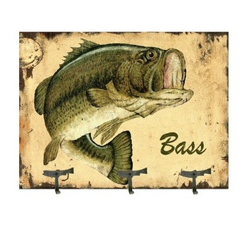 Coat Rack with Bass Fish Vintage Style Wooden Sign