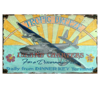 Custom Tropic Breeze Island Charters Vintage Style Metal Sign