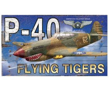 Custom P-40 Flying Tigers Plane Vintage Style Metal Sign