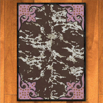 5' x 8' Fancy Cowhide Brown and Pink Western Rectangle Rug