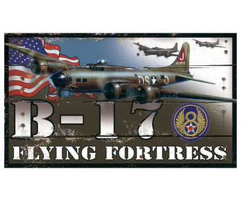 Custom B-17 Flying Fortress Plane Vintage Style Metal Sign