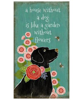 Custom Black Lab Dog in Garden Vintage Style Metal Sign