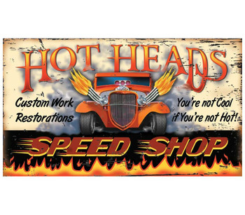 Custom Hot Heads Speed Shop Vintage Style Metal Sign