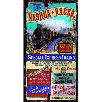 Custom Nashua Racer Special Express Trains Vintage Style Metal Sign