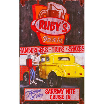 Custom Rubys Drive In Vintage Style Metal Sign