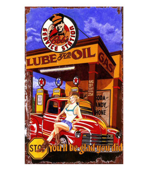 Custom Lube & Oil Vintage Style Metal Sign