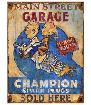 Custom Champion Spark Plugs Vintage Style Metal Sign