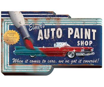 Custom Large Elmer's Auto Paint Shop Cutout Vintage Style Metal Sign