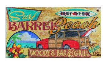 Custom Surf Woodys Bar and Grill Vintage Style Metal Sign