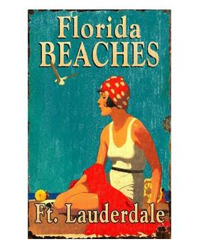 Custom Florida Beaches Vintage Style Metal Sign