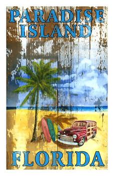 Custom Beach Palm Paradise Island Vintage Style Metal Sign