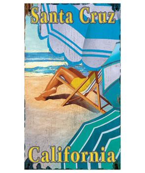 Custom Three Umbrellas Santa Cruz California Vintage Style Metal Sign